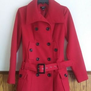 BCX Red Women's Pea Coat Polyester Blend 29686